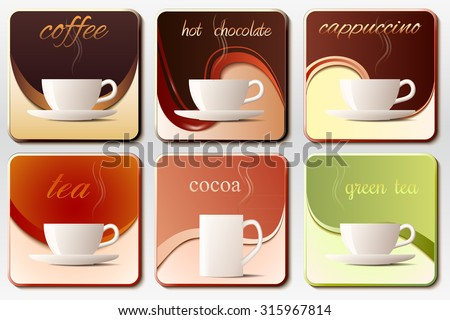 """A icons set of """"hot drinks"""" for cafes and bistros. - stock vector"""