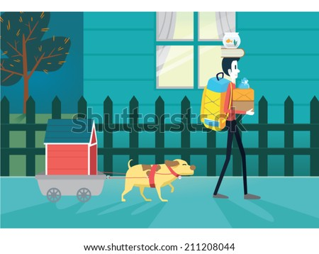 A illustration about a man and his pet moving resident. Use in Perfect for a real estate illustration, Magazine and other. - stock vector