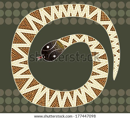 A illustration based on aboriginal style of dot painting depicting black-headed python - stock vector
