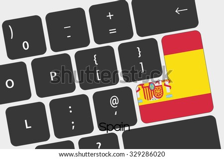 A Illustration of a Keyboard with the Enter button being the Flag of  Spain - stock vector