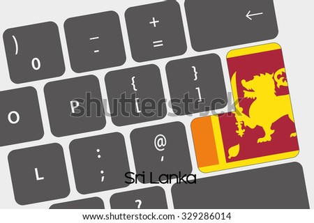 A Illustration of a Keyboard with the Enter button being the Flag of  Sri Lanka - stock vector