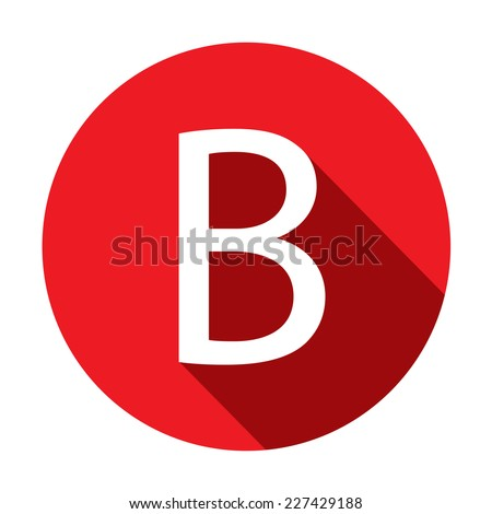 A Illustration of a Letter with a Long Shadow - Letter B - stock vector