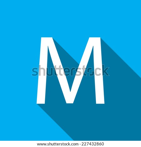 A Illustration of a Letter with a Long Shadow - Letter M - stock vector