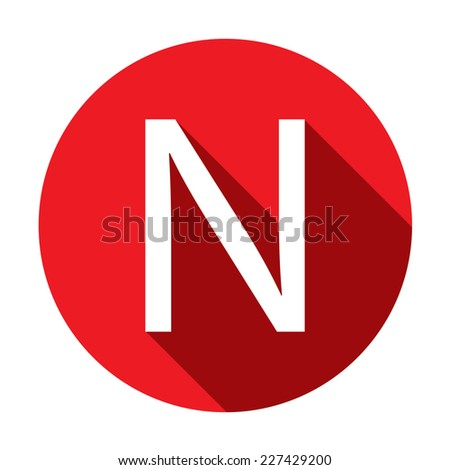 A Illustration of a Letter with a Long Shadow - Letter N - stock vector