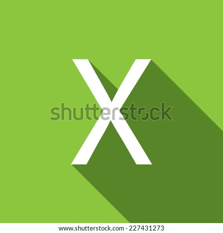 A Illustration of a Letter with a Long Shadow - Letter X