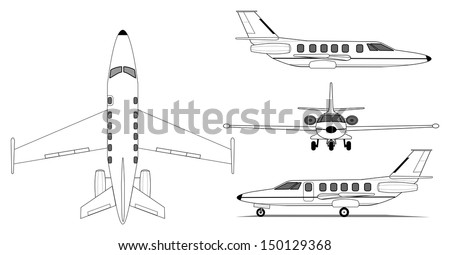 A illustration of private jet airplane - stock vector