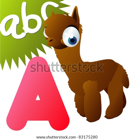 A is for Alpaca - stock vector
