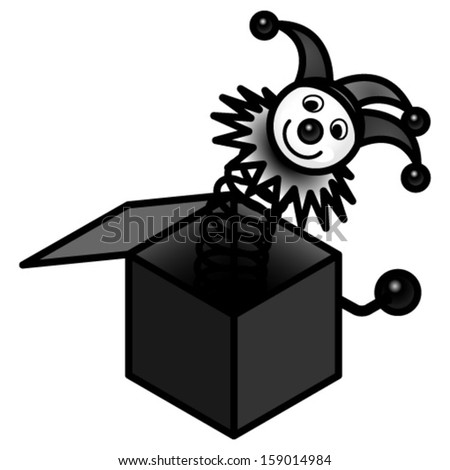 A Jack in the Box toy. Black and white / goth version. - stock vector