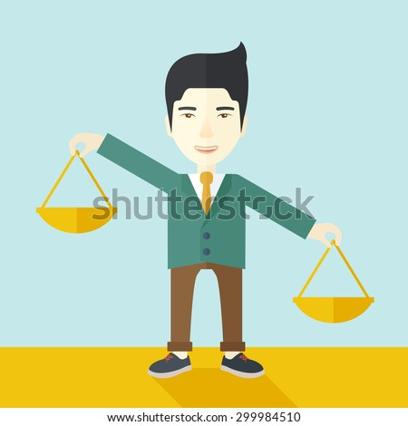 A japanese guy holding a Weighing scale inclined to the other side. Balancing concept. A Contemporary style with pastel palette, soft blue tinted background. Vector flat design illustration. Square - stock vector