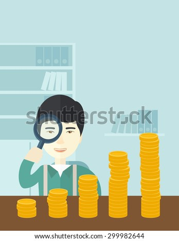 A japanese man looking his growing business in financial crisis concept. Economy and money, coin and success. A contemporary style with pastel palette soft blue tinted background. Vector flat design - stock vector