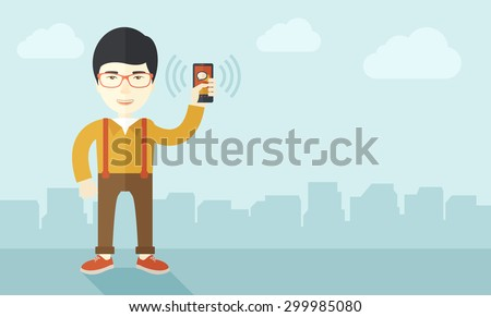 A japanese office worker holding his smartphone vibrating. A contemporary style with pastel palette soft blue tinted background with desaturated clouds. Vector flat design illustration. Horizontal - stock vector
