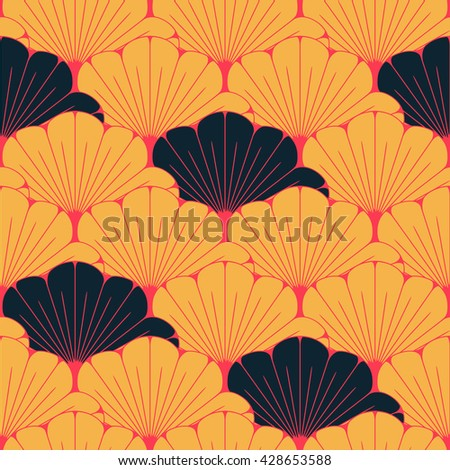 a Japanese style seamless tile with exotic foliage pattern in yellow, red, and black - stock vector