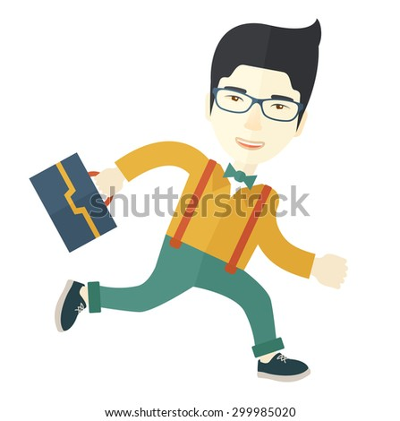 A japanese worker with briefcase is late to Work. A contemporary style with pastel palette background. Vector flat design illustration. Square layout.    - stock vector