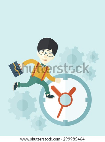 A japanese worker with briefcase is late to Work with a clock symbol. A contemporary style with pastel palette soft blue tinted background. Vector flat design illustration. Vertical layout with text - stock vector