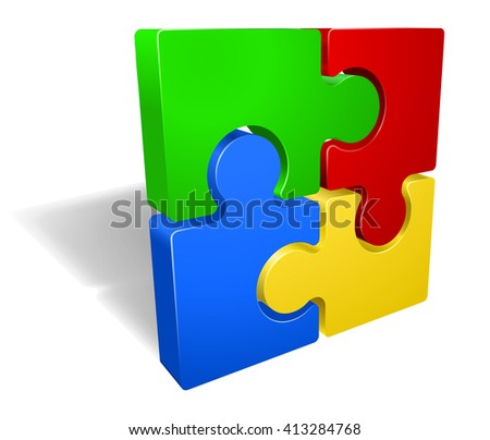 A jigsaw puzzle pieces icon illustration - stock vector