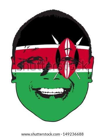 A Kenya flag on a face, isolated against white.  - stock vector