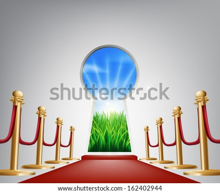 A keyhole shaped door opening into a beautiful field representing the future, success, a new opportunity or positive change - stock vector