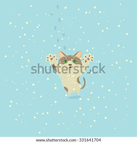 A kitty playing in snow. Vector illustration. - stock vector