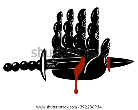 A knife through a hand - stock vector