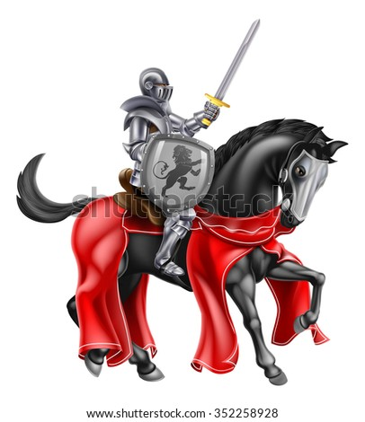 A knight holding a sword and shield on the back of a black horse - stock vector