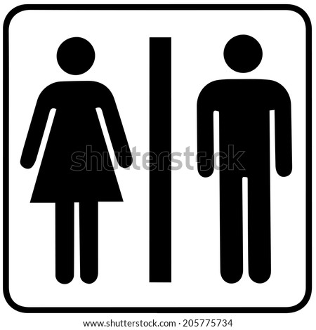 a lady and a man toilet sign on white background - stock vector