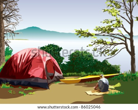 A lakeside c&site with a tent and a kayak. A girl is sitting on a & Lakeside Campsite Tent Kayak Girl Sitting Stock Vector 86025046 ...