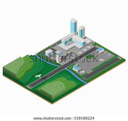 A large airport with two runways, the terminal building and ancillary buildings - stock vector