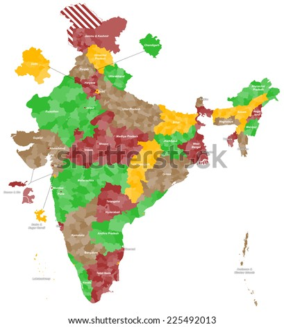 Large Detailed Map India All Subdivisions Stock Vector 225492013