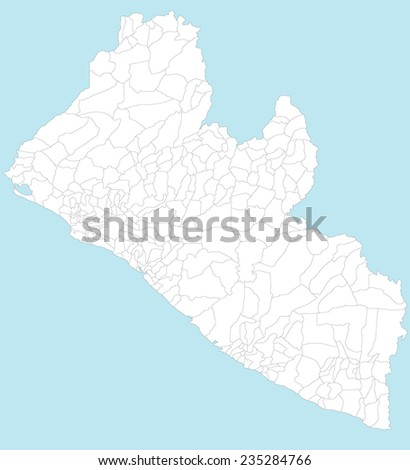 Large Detailed Map Liberia All Local Stock Vector 235284766