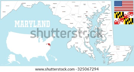 A large and detailed map of the State of Maryland with all counties and main cities.