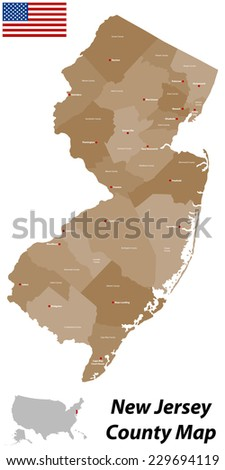 Large Detailed Map State New Jersey Stock Vector 229694119