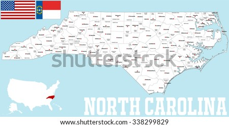 Large Detailed Map State North Carolina Stock Vector - Map of nc cities