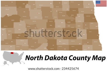 A large and detailed map of the State of North Dakota with all counties and county seats. - stock vector
