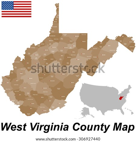 West Virginia County Map Stock Images RoyaltyFree Images - Map of west virginia counties