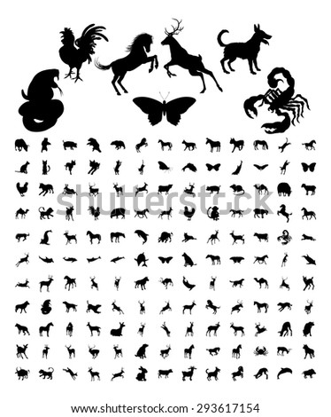 A large bundle set of high quality very detailed animal silhouettes  - stock vector