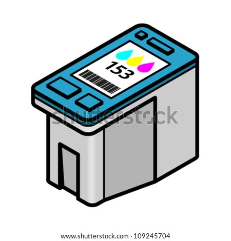 A large-capacity inkjet printer cartridge with cyan, yellow, magenta colour ink. - stock vector