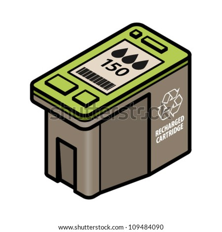 A large-capacity recharged/recycled inkjet printer cartridge with black ink. - stock vector