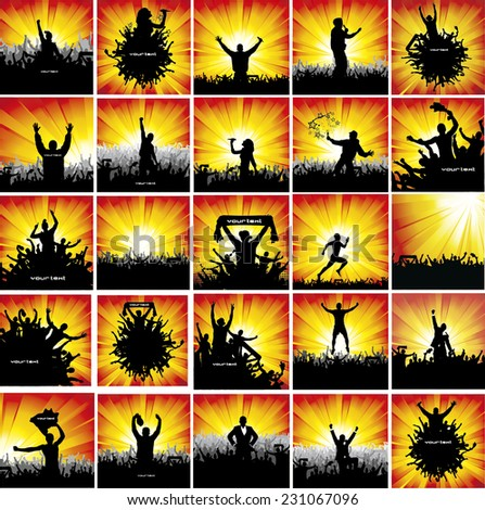 large collection advertising posters fans sport stock vector