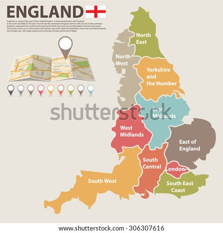 Large Colored Map England All Counties Stock Vector 306307616