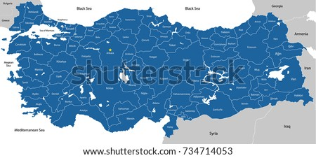 Large Colorful Detailed Map Turkey All Stock Vector HD Royalty Free