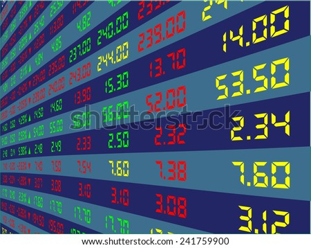a large display of daily stock market price and quotation viewing from the right, vector illustration - stock vector