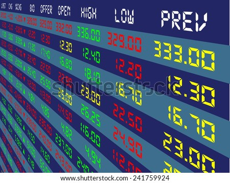 a large display of daily stock market price and quotation viewing from the top right, vector illustration - stock vector