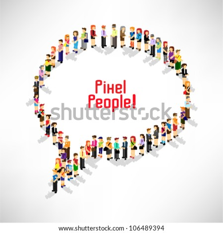 a large group of people gather and queuing up together vector icon design - stock vector