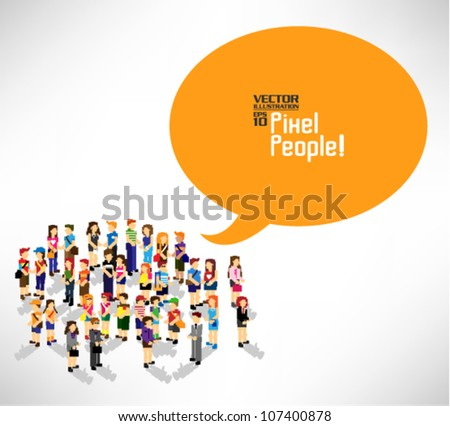 a large group of people gather together vector icon design - stock vector