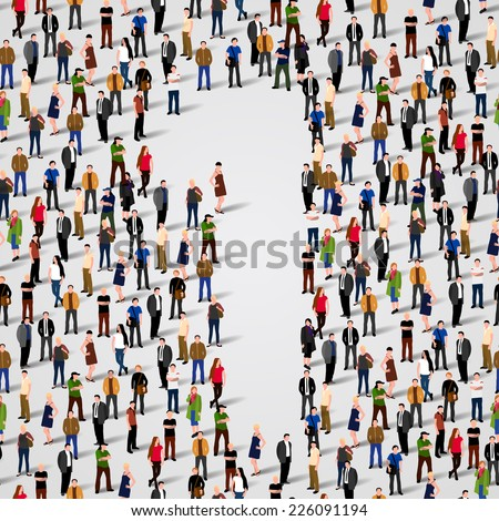 A large group of people in number 1 one form. Vector seamless background - stock vector