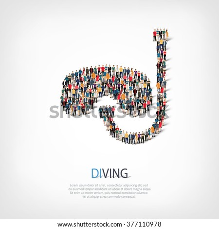 A large group of people in the shape of diving. Vector illustration . - stock vector