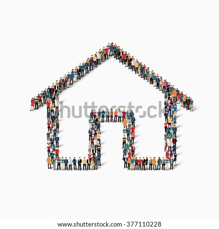 A large group of people in the shape of real estate . Vector illustration - stock vector