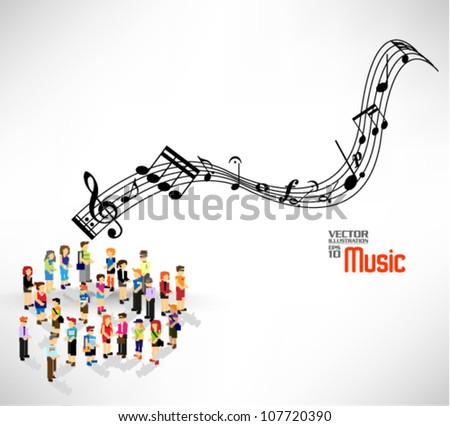 a large group of people singing together vector design - stock vector