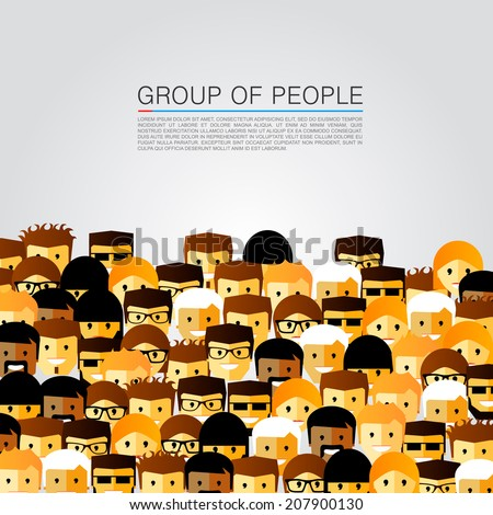 A large group of people. Vector illustration - stock vector