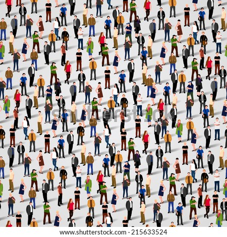A large group of people. Vector seamless background - stock vector